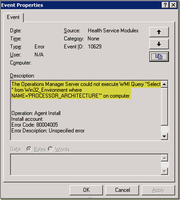 Thoughts on Azure, OMS & SCOM: Error Code: 80004005 and the