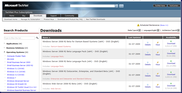 09-02-12 TechNet - Win2K8 R2 Downloads
