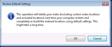 09-09-18 Outlook Not Indexing - Force Reindex by Restore to Defaults - Are You Sure