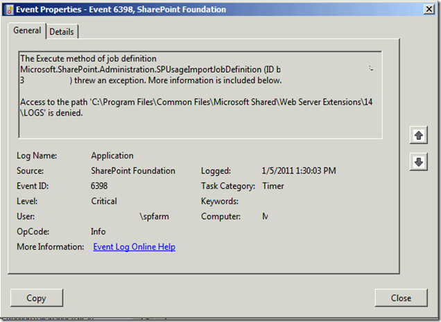 MPECS Inc  Blog: SBS 2011 – SharePoint Foundation Event ID 6398