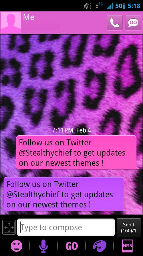 GO SMS Girly Cheetah Theme - screenshot