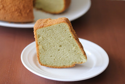 close up photo of one slice of matcha chiffon cake