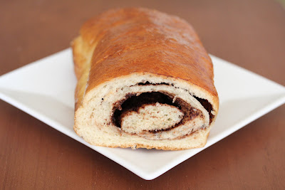nutella swirl bread with slices removed