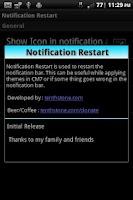 Screenshot of Notification Restart