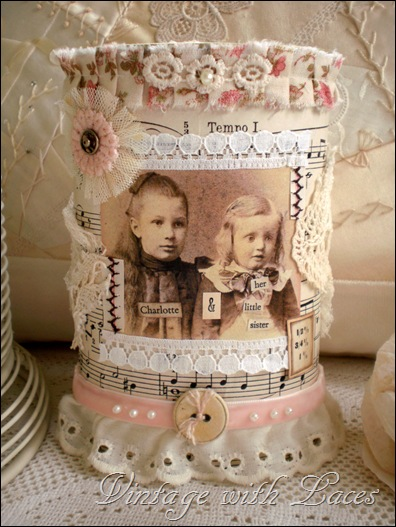 Altered Tin with vintage image by Vintage with Laces