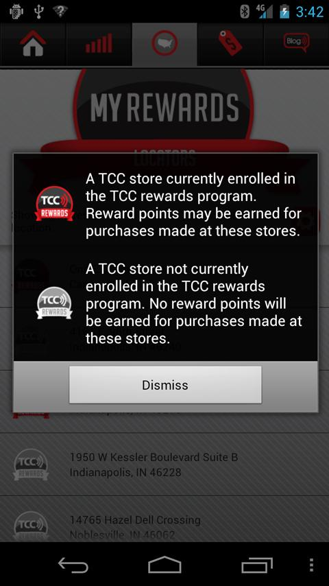 TCC Rewards - screenshot