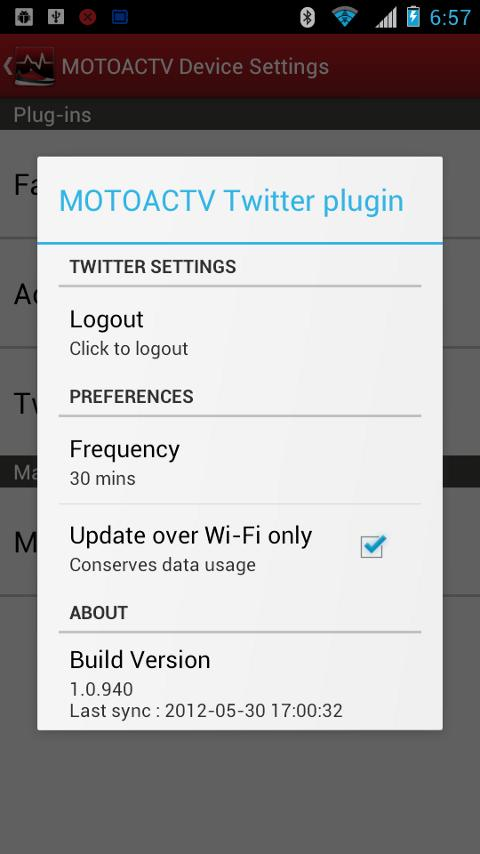 MOTOACTV plugin for Twitter. - screenshot