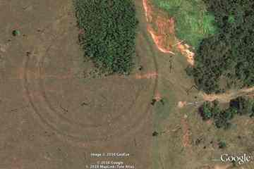 One of the massive earthworks discovered around Acre. (Google Earth)