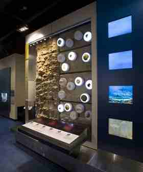 An exhibit in the Virginia Museum of Natural History shows fossils several millions of years old and found beneath the surface of the earth.