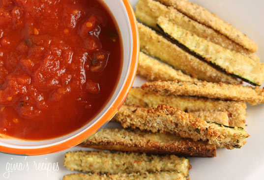 The kids love these healthy Baked Zucchini Sticks! Perfect served with marinara for dipping.