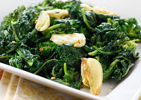 Broccoli Rabe roasted with chunks of garlic and oil and a touch of crushed red pepper flakes.