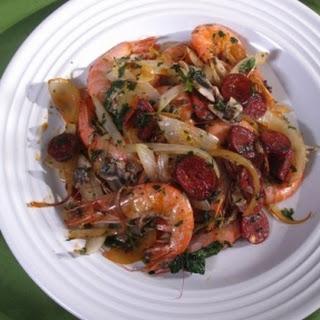 Sweet Prawns with Chorizo and Onions.