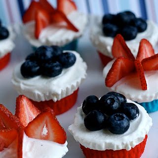 Red, White and Blue Ice Cream Cupcakes