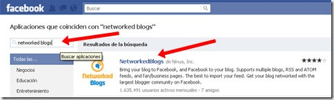 Buscaremos Networked blogs en el buscador de Facebook