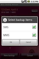 Screenshot of Mms Backup Restore
