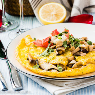 Mushroom Omelet with Tomato Sauce