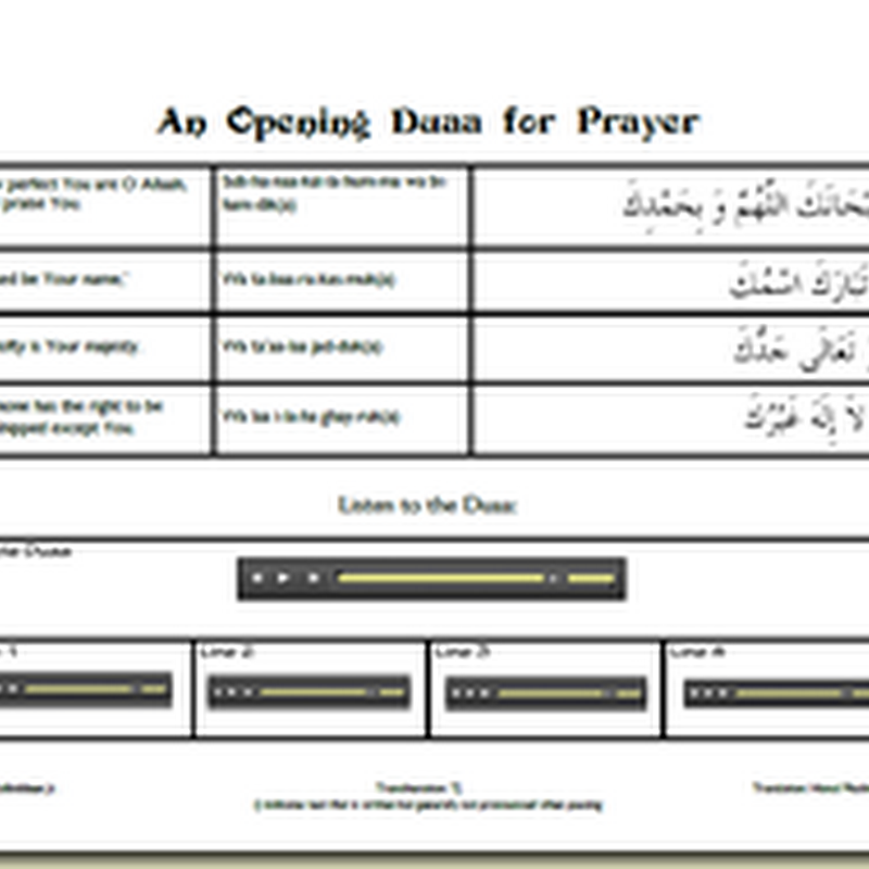 Opening duaa for Salaah