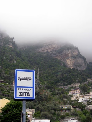 Bus stop in Positano Italy
