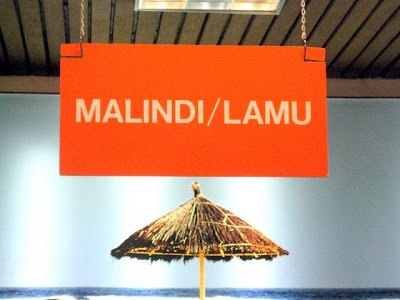Sign for Malindi and Lamu flight in Nairobi Airport