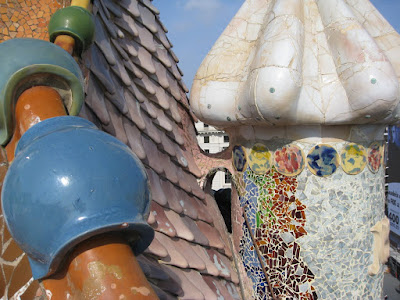 Roof of Gaudi's Casa Batllo in Barcelona, Spain