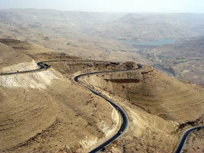 Driving along the King's Highway in Jordan