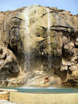 Waterfalls and pool at the Six Senses Spa in Jordan at the Dead Sea in Ma'in