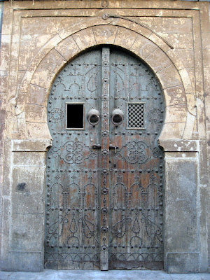 Carved blue door in Tunis old town
