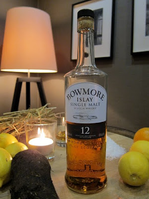 A bottle of Bowmore Whisky at a whisky tasting in Farringdon London