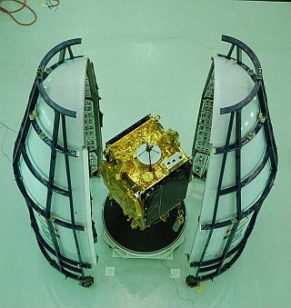 The GSAT-5P Satellite placed between the 2 sections of the fairing that was mounted over the aborted GSLV-F06 launch mission