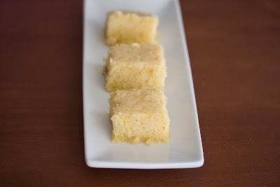 photo of three slices of vanilla mochi