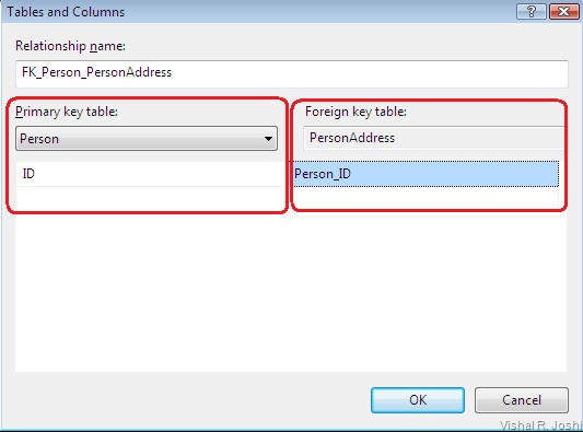 table and column specifications dialog
