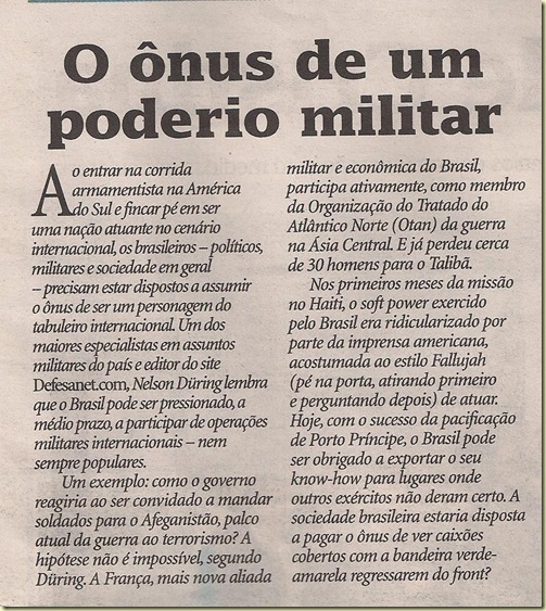 O onus do armamento de guerra