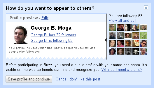 Google Buzz Profile preview