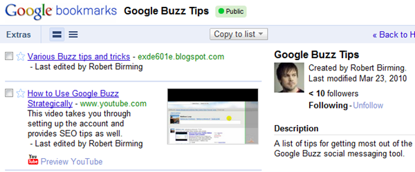 Google Bookmarks lists