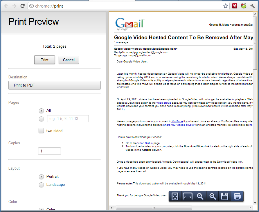 Print Preview In Google Chrome