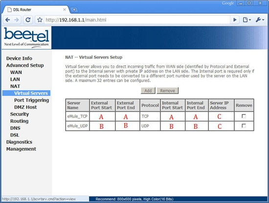 Configuring TCP and UDP Ports On Airtel Broadband (220BX