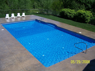 Stamped concrete pool deck MA