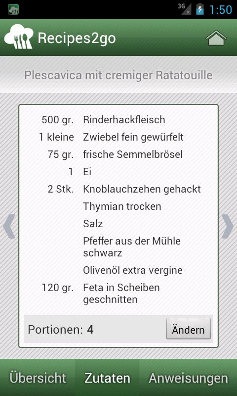 Recipes2go - Rezepte unterwegs- screenshot