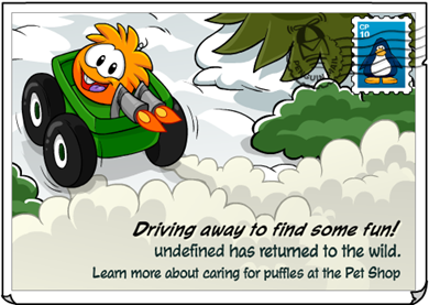 Orange Puffle driving away!