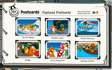 Postcards in Club Penguin :)