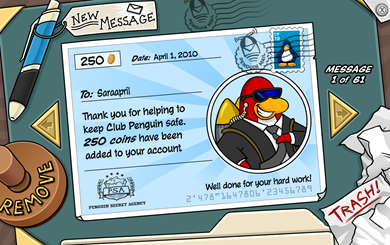 Club Penguin Paycheck :)