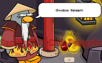 Sensei gives Fire Gem Card-Jitsu Club Penguin
