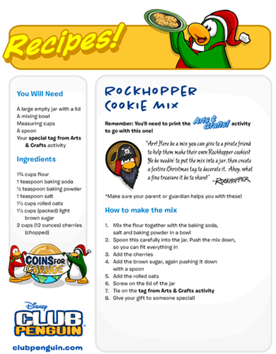 Recipes! Fun Activities Club Penguin :)