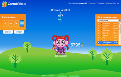 CarrotSticks Online Math Game :)