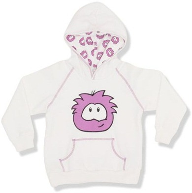 Club Penguin White Puffle Hooded Top :)