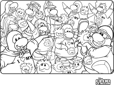 Saraapril in Club Penguin: I Heart my Puffle :) Coloring Page :)