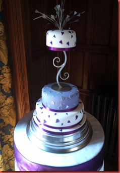 3 tier purple hearts wedding cake whalley abbey
