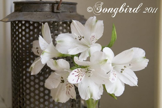 Spring White Mantel Vignette 2