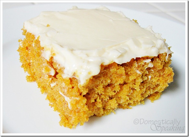 Moist and delicious pumpkin spice bar with cream cheese frosting