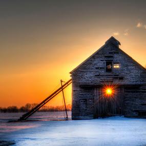 Fading Light by John Larson - Buildings & Architecture Decaying & Abandoned ( sunburst, sky, winter, barn, tree, sunset, snow )